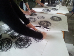 My hand in action creating circles of energy....at We all Draw